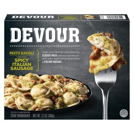 Devour Frozen Entree Pesto Ravioli With Italian Sausage - 12 oz.
