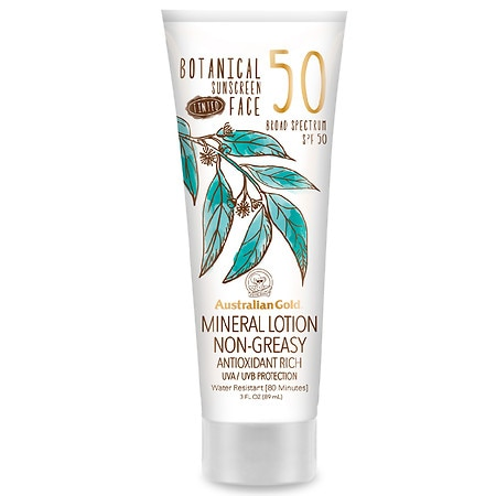 Australian Gold Botanical SPF 50 Tinted Face Sunscreen Lotion - 3 fl oz