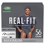 Depend Real Fit Incontinence Underwear for Men, Maximum Absorbency, Small/ Medium, Black Black