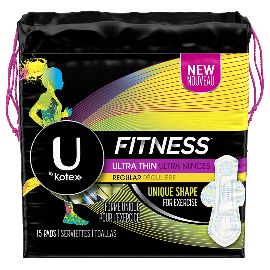 U By Kotex Fitness Ultra Thin Pads With Wings Regular Absorbency