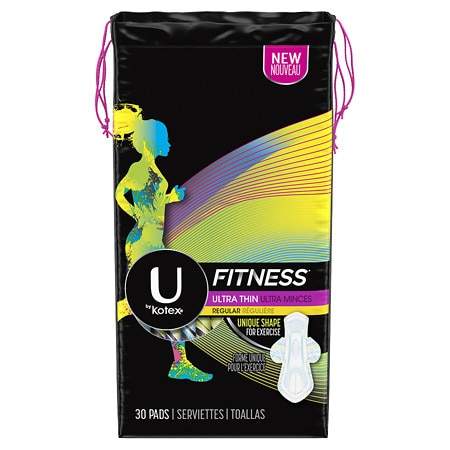 U by Kotex Fitness Ultra Thin Pads with Wings, Regular Absorbency Unscented - 30 ea