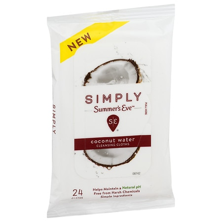 Summer's Eve Simply Cleansing Cloths Coconut Water - 24 ea