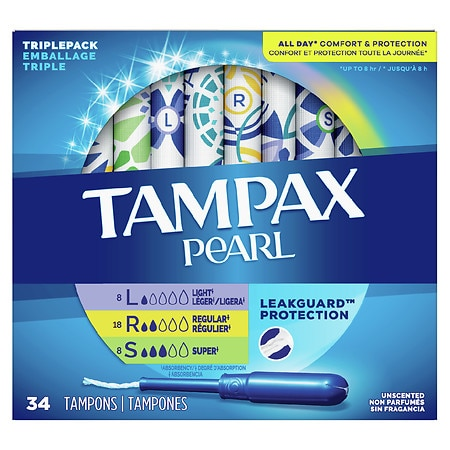 Tampax Pearl Plastic Tampons Triple Pack Unscented, Assorted Absorbencies - 34 ea