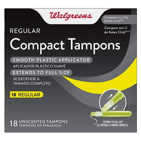 Walgreens Compact Tampons Regular Absorbency - 18 ea