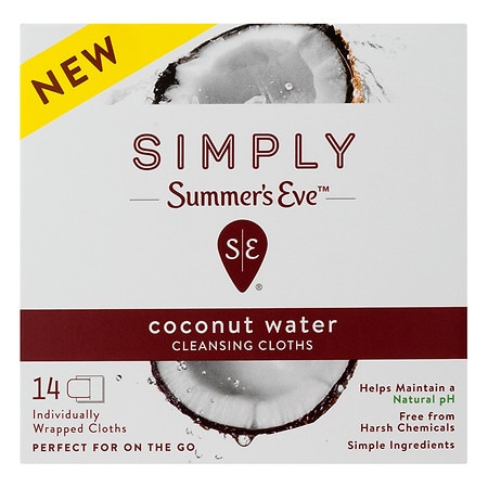 Summer's Eve Cleansing Cloths Coconut Water - 14 ea