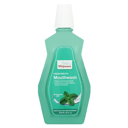 Walgreens Antiseptic Mouthwash Refreshing Mint - 33.8 oz.