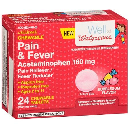 Walgreens Pain & Fever Dissolving Tablets Bubblegum - 24 ea