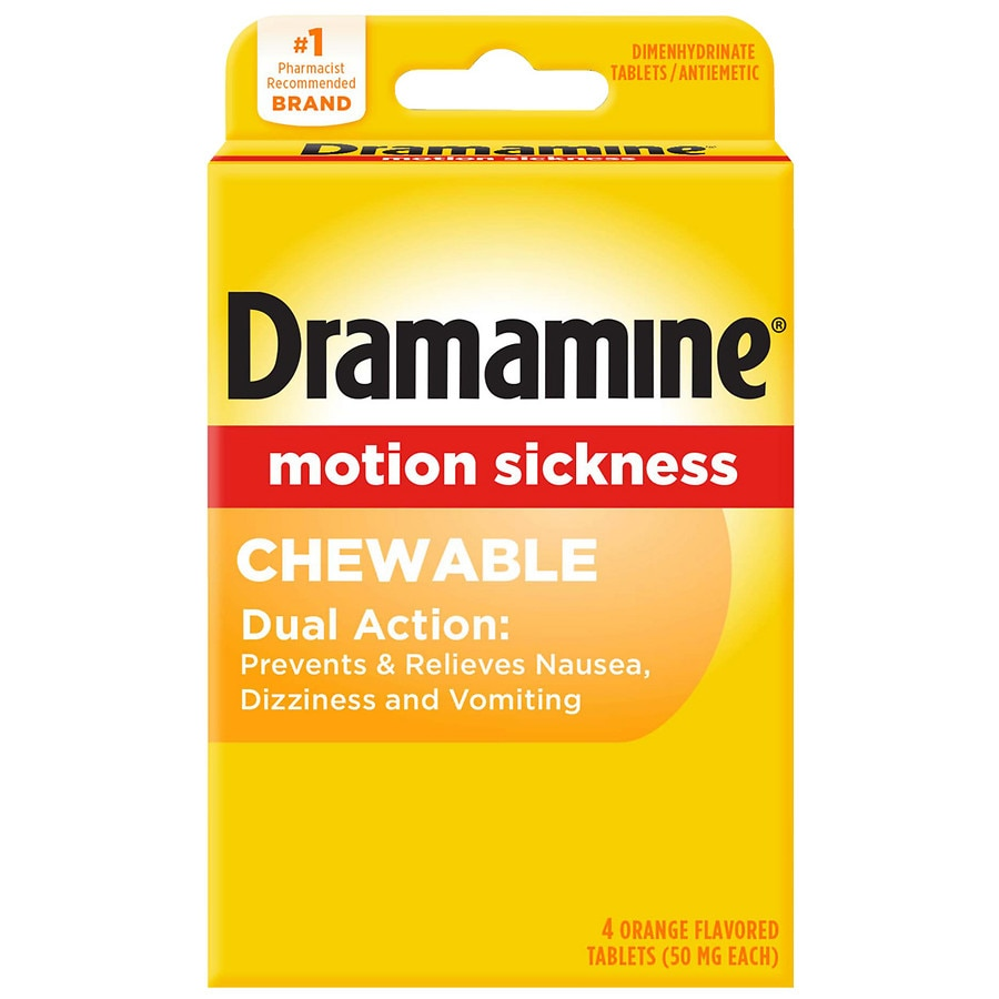 Dramamine Motion Sickness Relief Chewable Tablets Orange | Walgreens