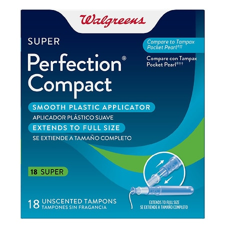 Walgreens Perfection Compact Applicator Tampons Super Unscented - 18 ea