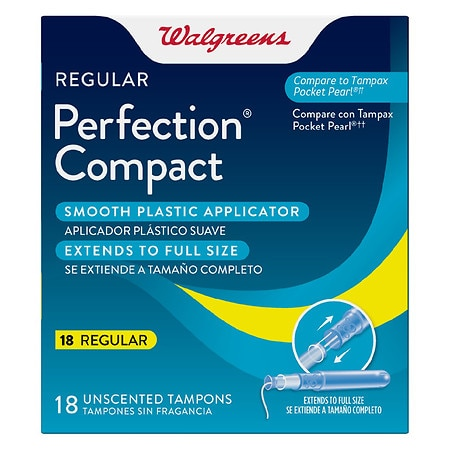 Walgreens Perfection Compact Applicator Tampons Regular Unscented - 18 ea