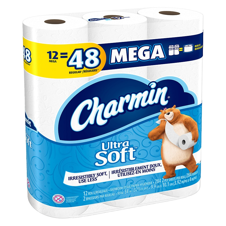 Charmin Ultra Soft Bath Tissue Mega Rolls Unscented