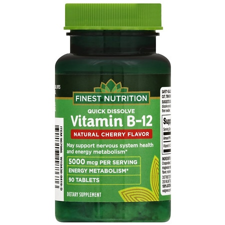 Finest Nutrition Vitamin B12 Methylcobalamin 5000 mcg Quick Dissolve Natural Cherry - 90.0 ea