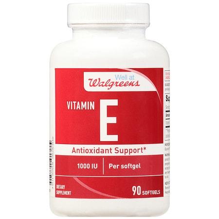 Walgreens Vitamin E 1000 IU Softgels - 90 ea