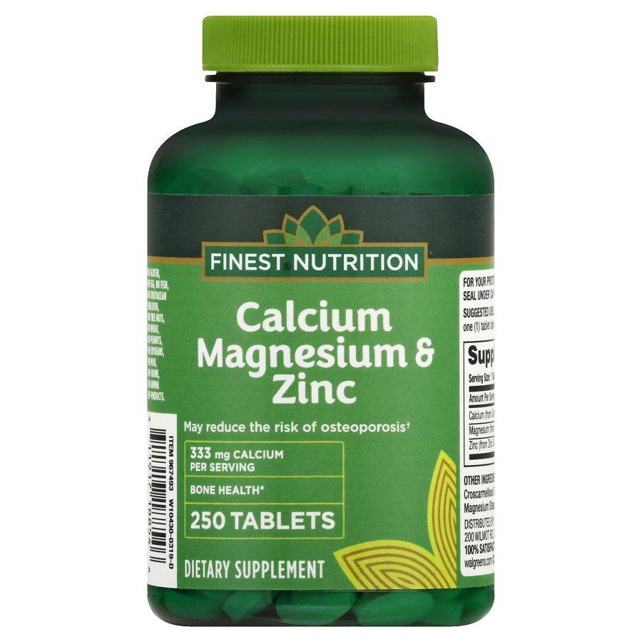 Finest Nutrition Calcium Magnesium Zinc Tablets Walgreens