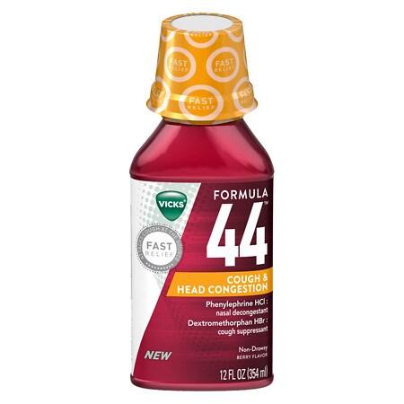 Vicks 44 DM Cough & Head Congestion Liquid Berry, Berry Flavor - 12 oz.