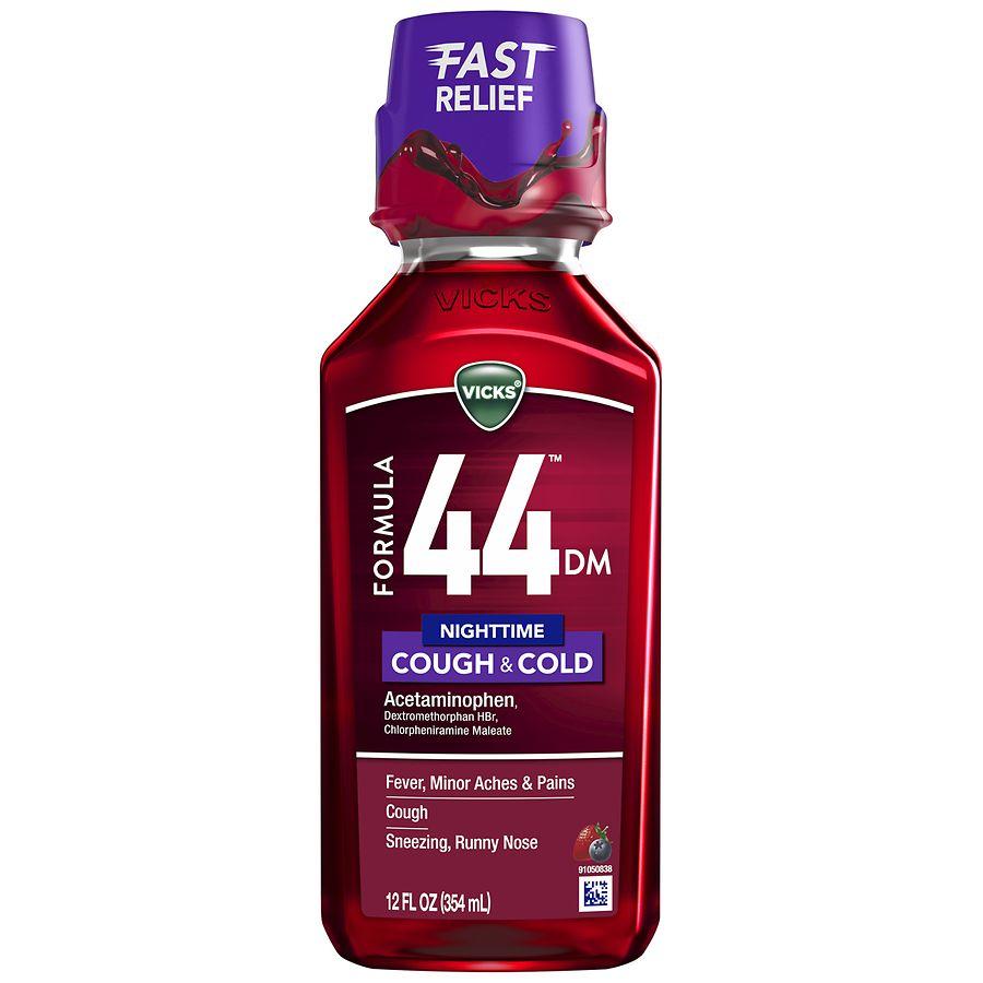 Vicks 44 DM Nighttime Cough & Cold Liquid Berry, Berry Flavor