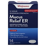 Walgreens Mucus Relief Extended Relief 1200 mg Tablets