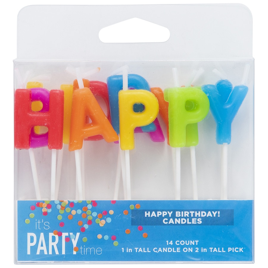 Its Party Time Happy Birthday Pick Candles140 Ea