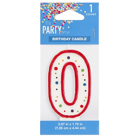 It's Party Time Polka Dot Candle Number 0 - 1 ea