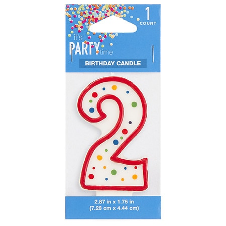 It's Party Time Polka Dot Candle Number 2 - 1 ea