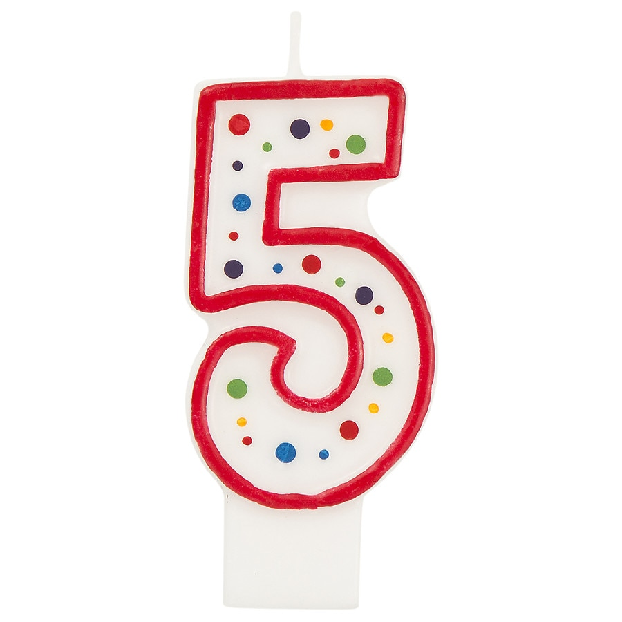 Its Party Time Polka Dot Candle Number 5