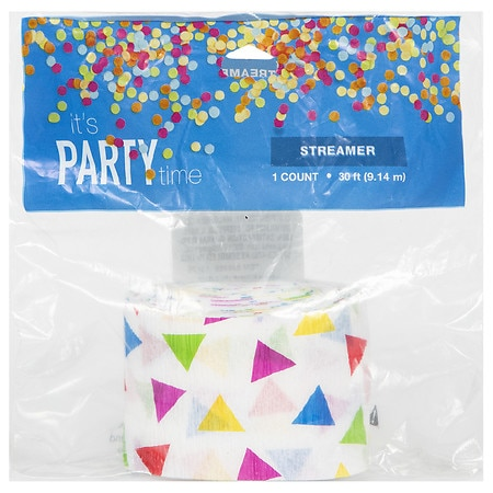 It's Party Time Happy Birthday Crepe Streamer 30 foot - 1 ea