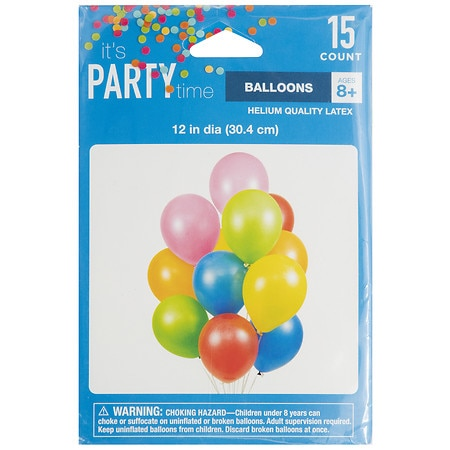 It's Party Time Latex Helium Balloons 12 inch - 15 ea
