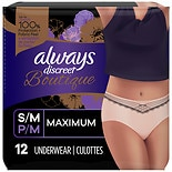 Always Discreet Boutique, Incontinence Underwear for Women, Maximum Protection Small /  Medium