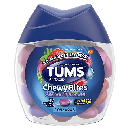 Tums Chewy Bites Antacid, Hard Shell Chews for Heartburn Relief Assorted Berry - 32 ea