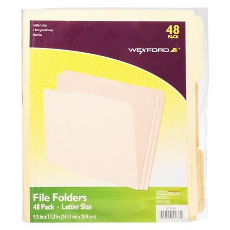 Wexford File Folders Letter Size - 48 ea