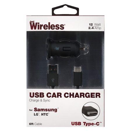 Just Wireless Car Charger USB Type C 2.4 Amp - 1 Ea