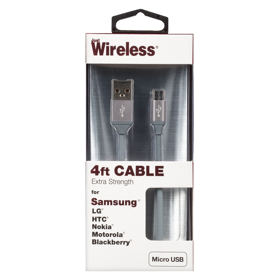 Just Wireless Micro USB Cable 4 foot Space Grey   Walgreens