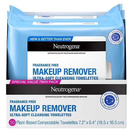 Neutrogena Makeup Remover Cleansing Towelettes Fragrance Free - 50 ea x 2 pack