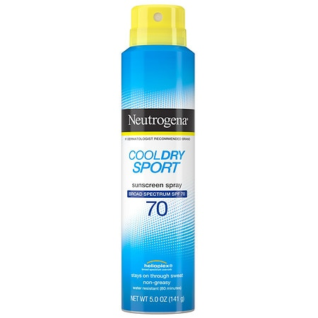 Neutrogena Cooldry Sport Water-Resistant Sunscreen Spray, SPF 70 - 5 oz.