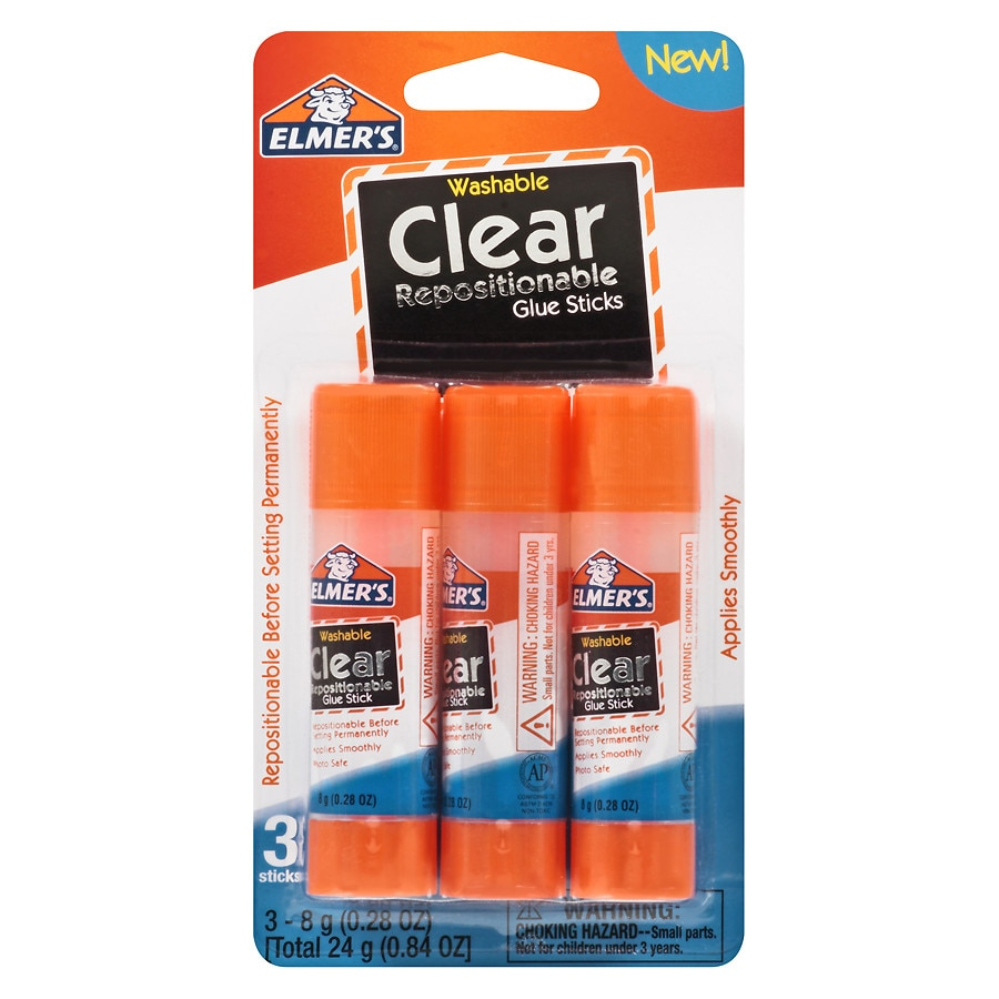 Elmer S Glue Sticks Clear0 28 Oz X 3 Pack