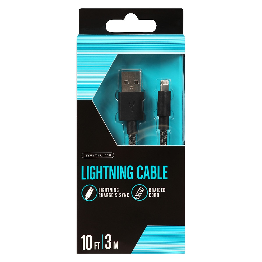 Infinitive Wall Braided Lightning Cable 10 Foot Black | Walgreens