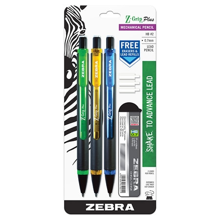 Zebra Grip Pencils With Free Lead & Eraser 0.7mm - 3 ea