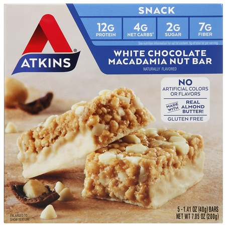 Atkins Snack Bars White Chocolate Macadamia Nut - 0.41 OZ x 5 pack