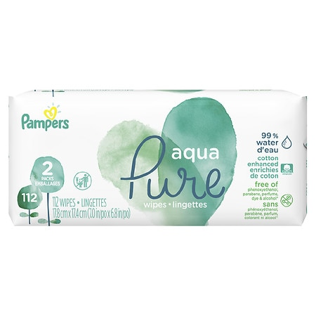 Pampers Aqua Pure Wipes Size 2X - 56 ea