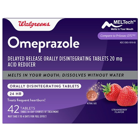 Walgreens Omeprazole Orally Disintegrating Tablets Strawberry - 42 ea