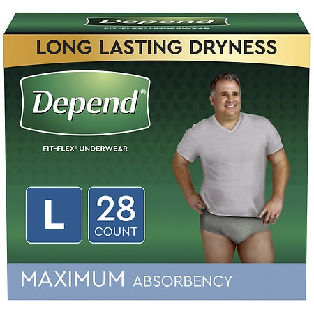 Image of Depend Fit-Flex Incontinence Underwear for Men, Maximum Absorbency Large - 28 ea