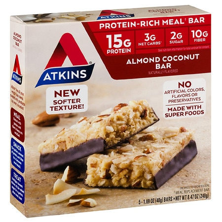 Atkins Protein Rich Meal Bars Almond Coconut - 1.69 OZ x 5 pack