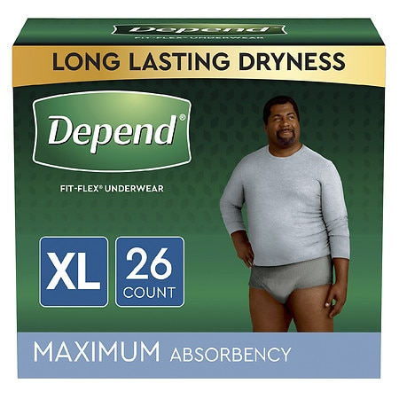 Image of Depend Fit-Flex Incontinence Underwear for Men, Maximum Absorbency X-Large - 26 ea