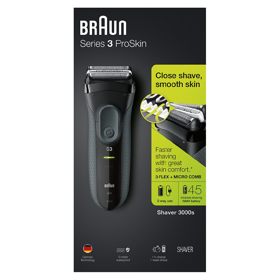 Braun Series 3 Proskin 3000s Electric Shaver For Men Rechargeable