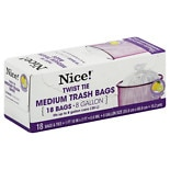 Nice! Twist Tie Trash Bag 5 gallon, White White