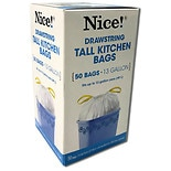 Nice! Drawstring Tall Kitchen Trash Bag 13 Gallon White