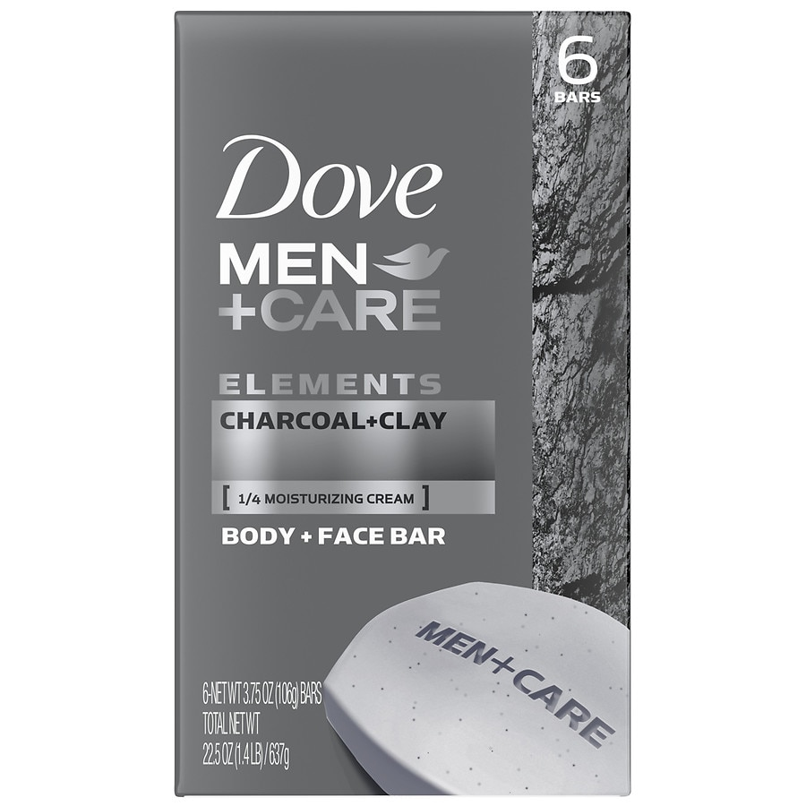Dove Men Care Elements Body And Face Bars Charcoal Clay Walgreens