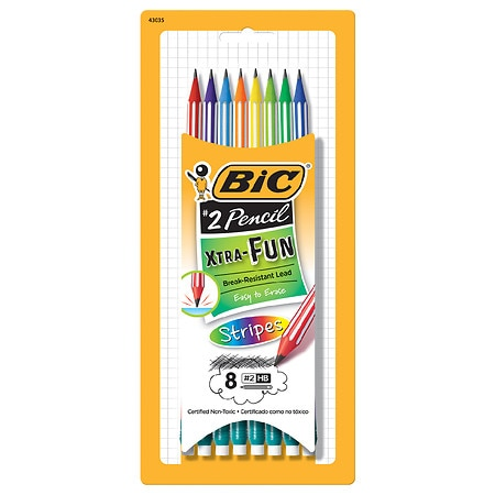 BIC Xtra-Fun Stripes Graphite Pencils - 8 ea