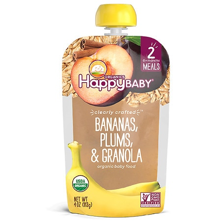 Happy Baby Clearly Crafted Organic Food Pouch Banana, Plum, Granola - 4 oz.
