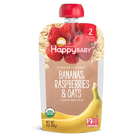 Happy Baby Clearly Crafted Organic Food Pouch Banana, Raspberries, Oats - 4 oz.